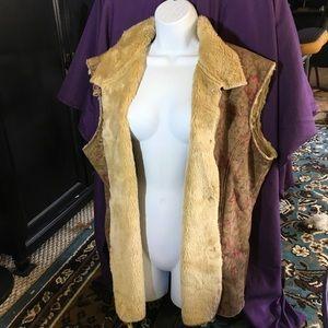Coldwater Creek fur lined vest 2X